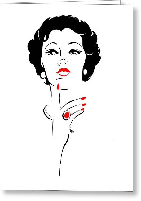 Greeting Card featuring the digital art Red Nails Red Lips by Cindy Garber Iverson