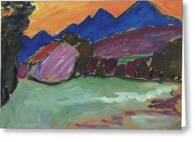 Red Night - Blue Mountains Greeting Card