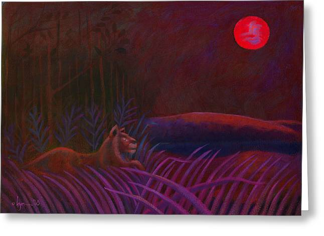 Greeting Card featuring the painting Red Night Painting 48 by Angela Treat Lyon