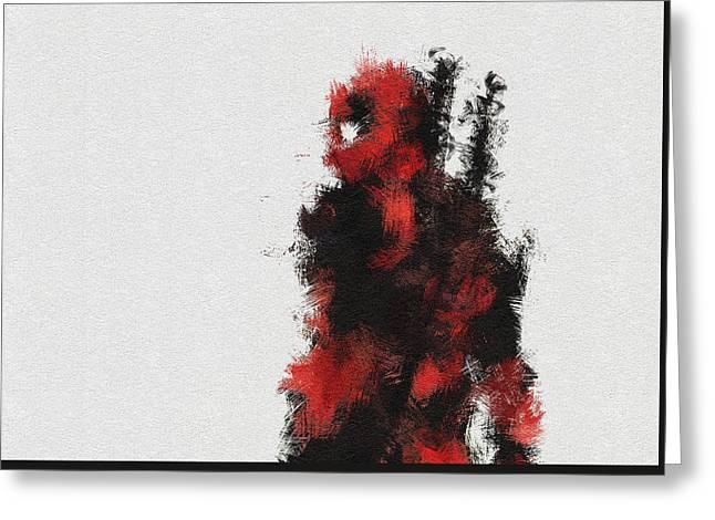 Red Ninja Greeting Card by Miranda Sether
