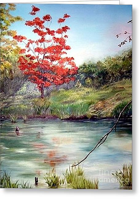 Greeting Card featuring the painting Red Oak by Anna-maria Dickinson