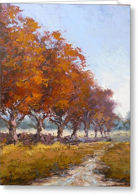 Pallet Knife Greeting Cards - Red Oak avenue Greeting Card by Yvonne Ankerman