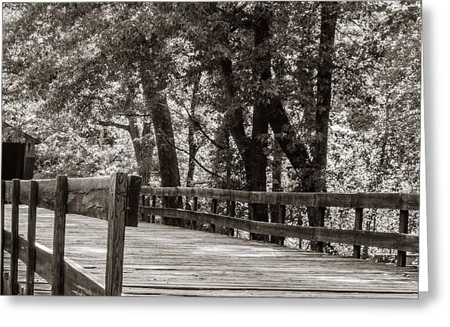 Greeting Card featuring the photograph Red Oak Creek Covered Bridge Approach by Randy Bayne