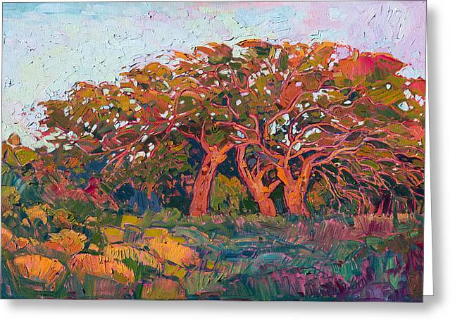 Greeting Card featuring the painting Red Oak Light by Erin Hanson