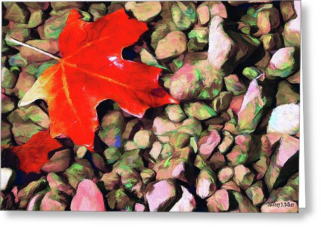Water Fall Greeting Cards - Red on the Rocks Greeting Card by Jeff Kolker