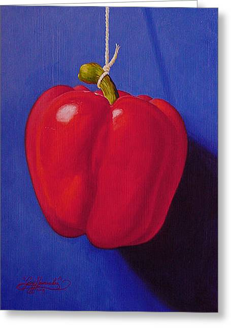 Red On Ultramarine Blue Greeting Card by Gary  Hernandez