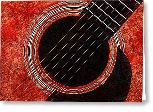 Andee Photography Greeting Cards - Red Orange Guitar Greeting Card by Andee Design