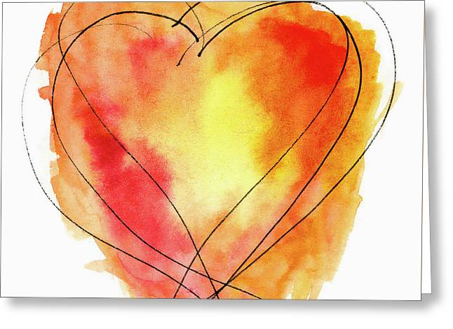 Red Orange Yellow Watercolor And Ink Heart Greeting Card by Carol Leigh