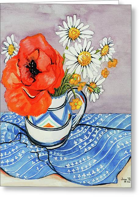 Red Oriental Poppy And Marguerites In A Honiton Jug Greeting Card by Joan Thewsey