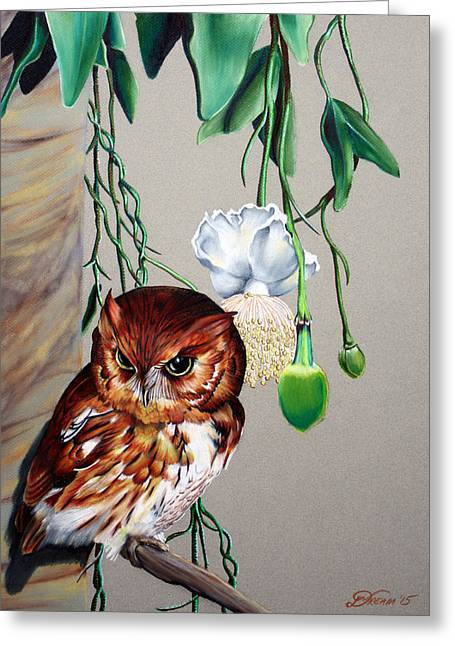 Red Owl Greeting Card by Virginia Simmons