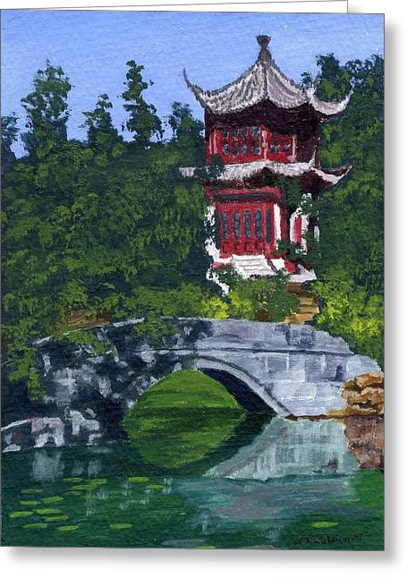 Greeting Card featuring the painting Red Pagoda by Lynne Reichhart