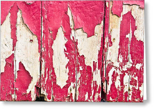 Red Painted Wood  Greeting Card by Tom Gowanlock