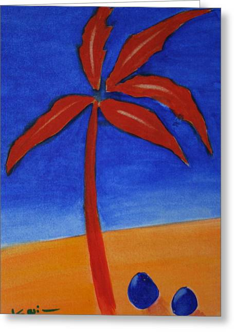 Greeting Card featuring the greeting card Red Palm by Karin Eisermann