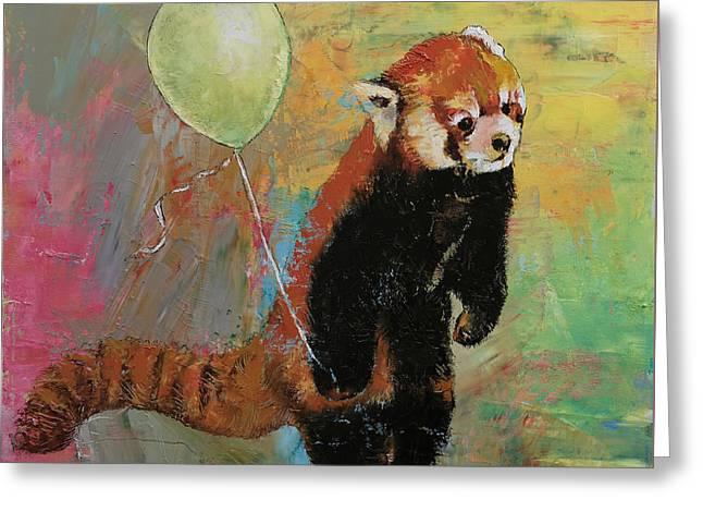 Red Panda Balloon Greeting Card