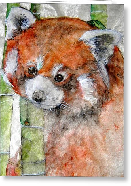 Greeting Card featuring the painting Red Panda Portrait by Debbi Saccomanno Chan