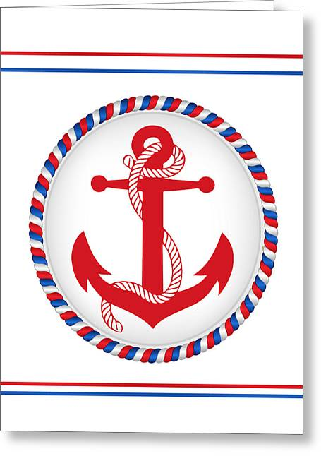 Red Patriotic Anchor Greeting Card