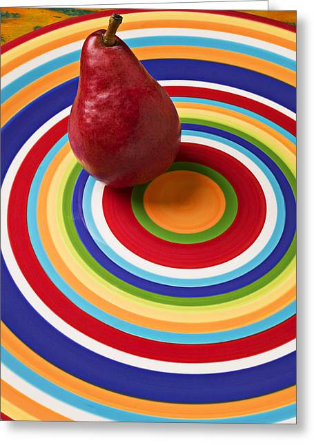 Red Pear On Circle Plate Greeting Card by Garry Gay