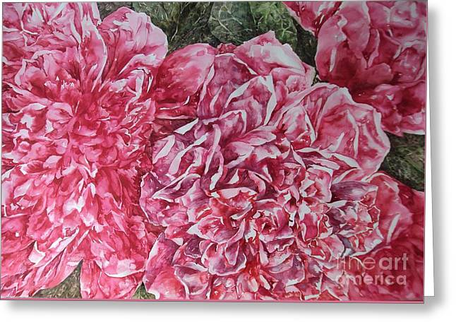 Red Peonies Greeting Card by Kim Tran