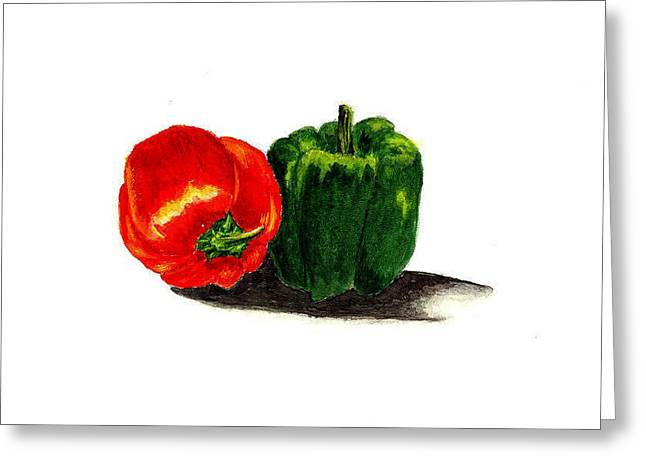 Red Pepper And Green Pepper Greeting Card by Michael Vigliotti