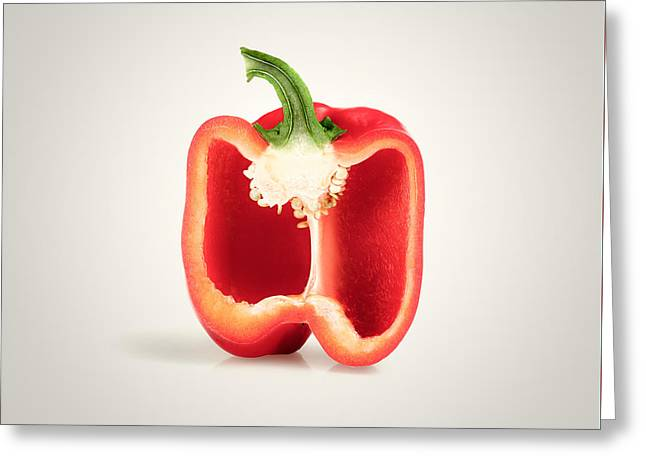 Red Pepper Cross-section Greeting Card by Johan Swanepoel