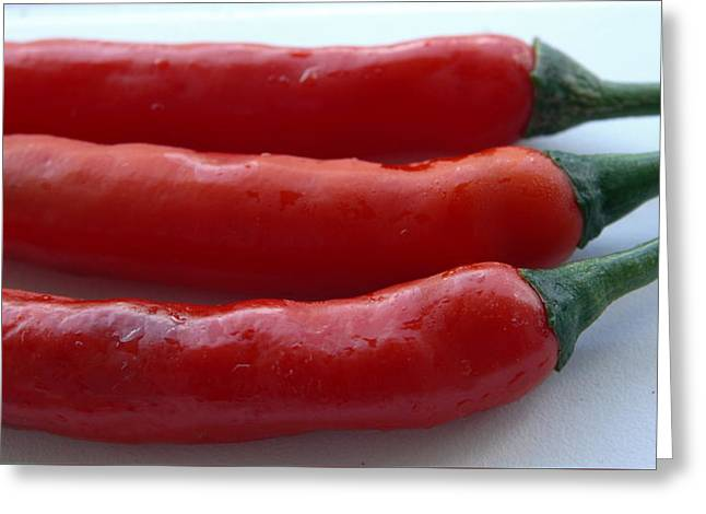 Red Peppers Greeting Card by Tropical Ties Dominica