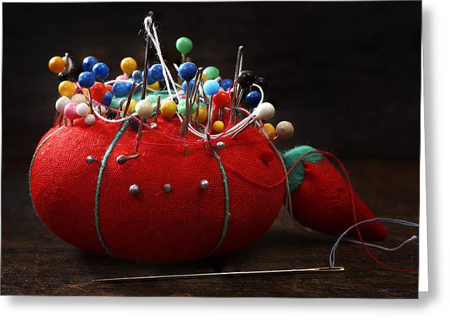 Red Pin Cushion Greeting Card by Donald Erickson