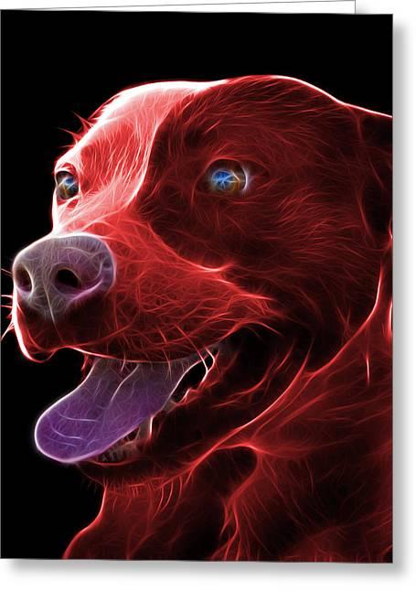 Red Pit Bull Fractal Pop Art - 7773 - F - Bb Greeting Card