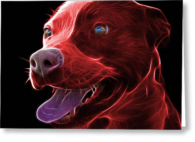 Red Pit Bull Fractal Pop Art - 7773 - F - Bb Greeting Card
