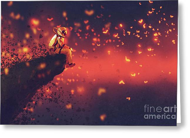 Greeting Card featuring the painting Red Planet by Tithi Luadthong