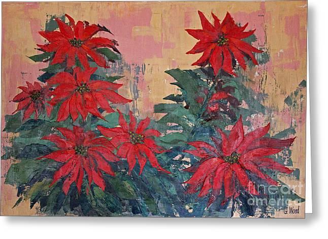 Red Poinsettias By George Wood Greeting Card by Karen Adams