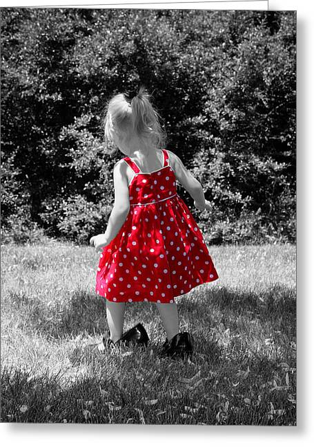 Toddler Girl Greeting Cards - Red Polka Dot Dress And Mommys Shoes Greeting Card by Tracie Kaska