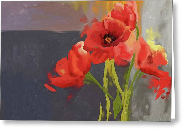 Red Poppies 400 I Greeting Card by Mawra Tahreem