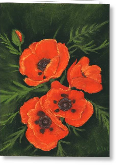 Greeting Card featuring the painting Red Poppies by Anastasiya Malakhova