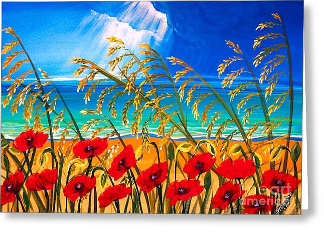 Red Poppies And Sea Oats By The Sea Greeting Card by Patricia L Davidson