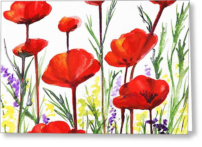 Greeting Card featuring the painting Red Poppies Art By Irina Sztukowski by Irina Sztukowski