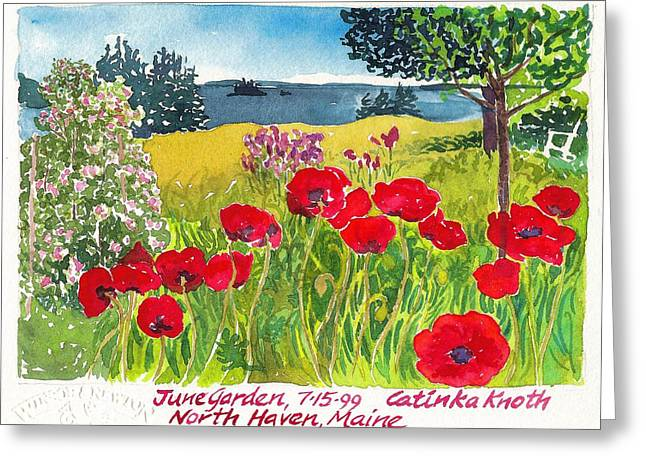 Red Poppies Coastal Maine Island June Garden North Haven  Greeting Card by Catinka Knoth