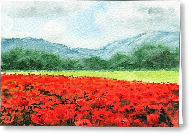 Red Poppies Field Greeting Card by Irina Sztukowski