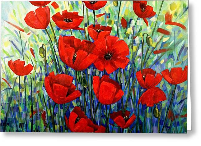 Red Poppies Greeting Card by Georgia  Mansur