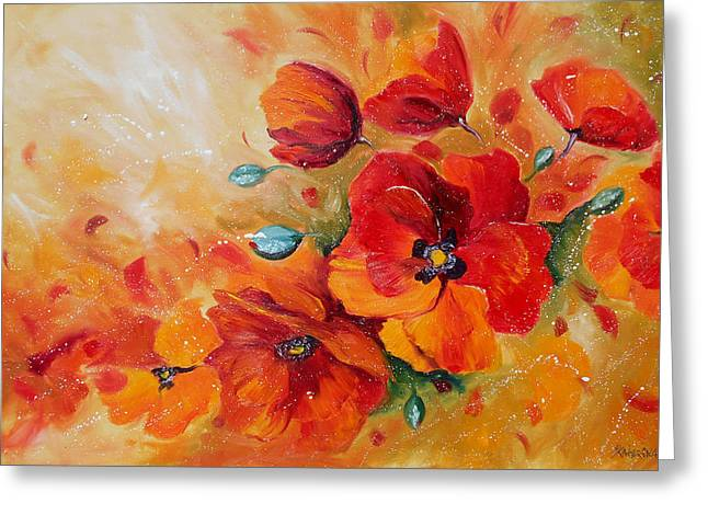 Red Poppies Impressionist Abstract Painting By Artist Ekaterina Chernova Greeting Card