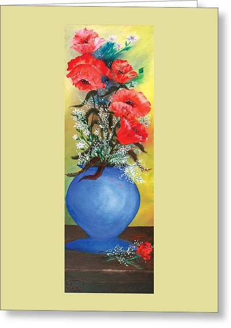 Red Poppies In A Blue Vase Greeting Card