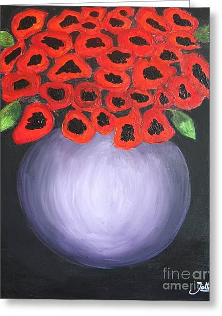 Greeting Card featuring the painting Red Poppies  by Jolanta Anna Karolska