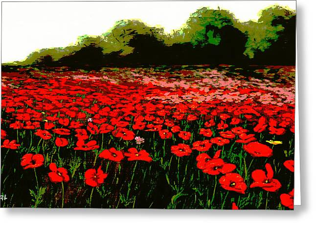 Red Poppies Landscapes Flowers Emerald Isle Multimedia Fine Art Greeting Card by G Linsenmayer