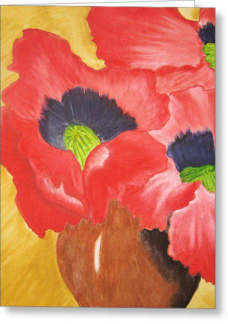 Red Poppies Greeting Card by Maris Sherwood