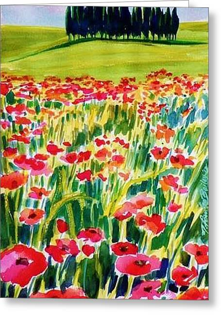 Therese Fowler-bailey Greeting Cards - Red Poppies of Tuscany  PrintS for Sale Greeting Card by Therese Fowler-Bailey