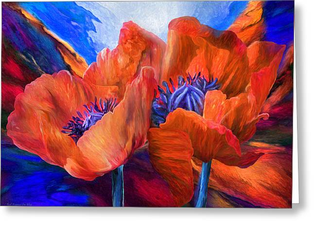 Red Poppies On Blue Greeting Card by Carol Cavalaris