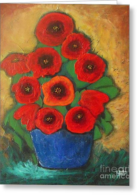 Red Poppies In Blue Vase Greeting Card by Vesna Antic