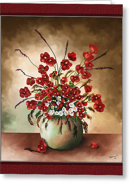 Greeting Card featuring the digital art Red Poppies by Susan Kinney