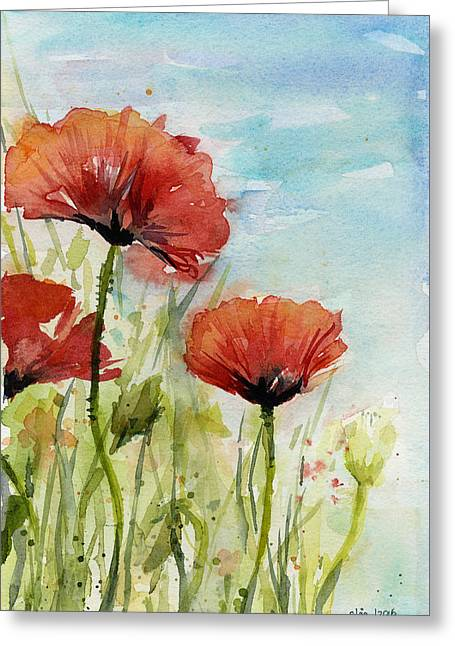 Red Poppies Watercolor Greeting Card by Olga Shvartsur