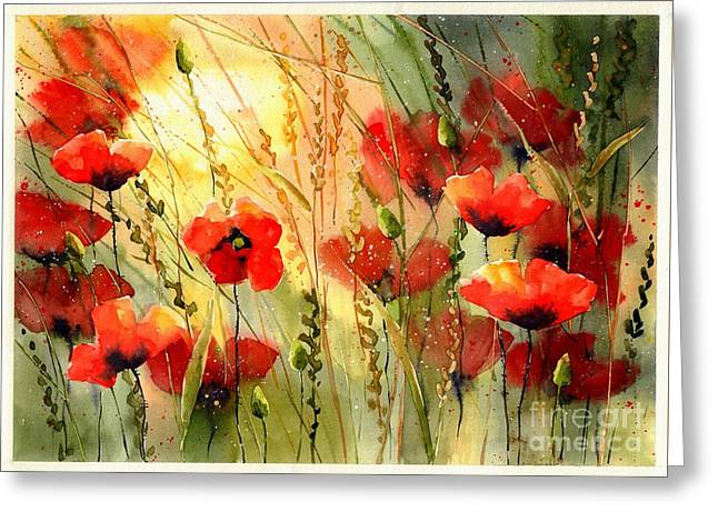 Red Poppies Watercolor Greeting Card