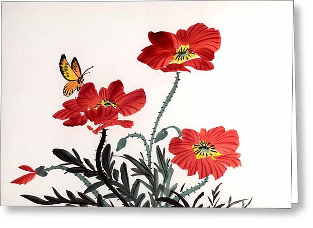 Red Poppies Greeting Card by Yolanda Koh
